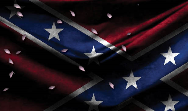 Cherry blossoms and confederate flag