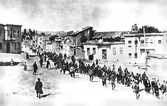 Armenians marched by Turkish soldiers