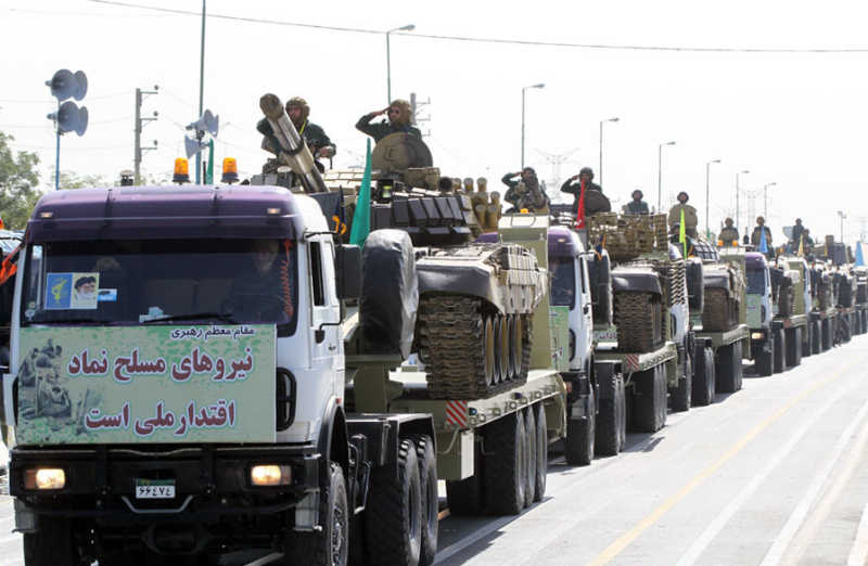 Parade of IRGC tank transporters