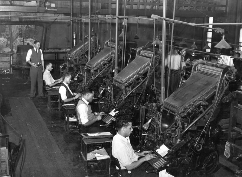 Chicago Defender Linotype operators