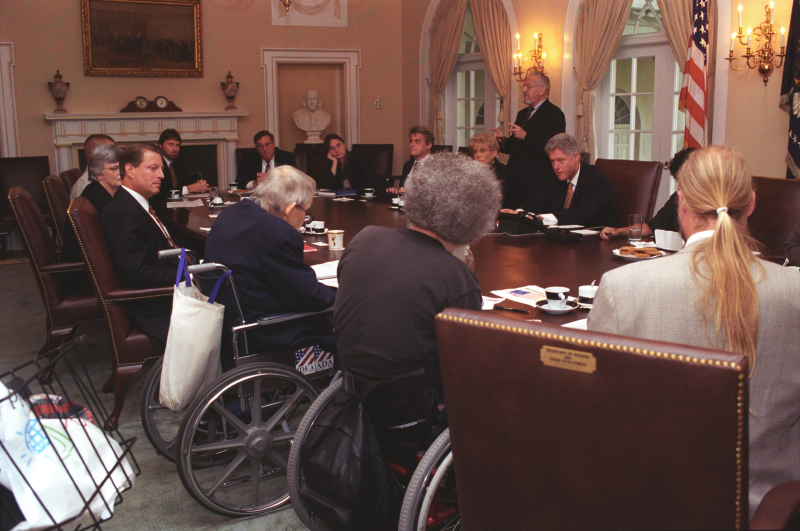 President Clinton, Vice President Gore, Chris Jennings and others participate in a Disability Community Outreach group meeting