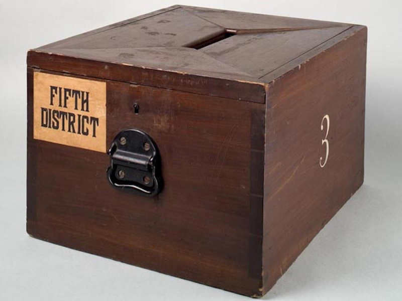 Wooden ballot box (circa 1870) from the Smithsonian