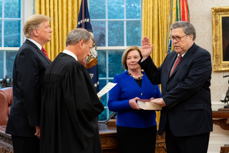 William Barr being sworn in as Attorney General