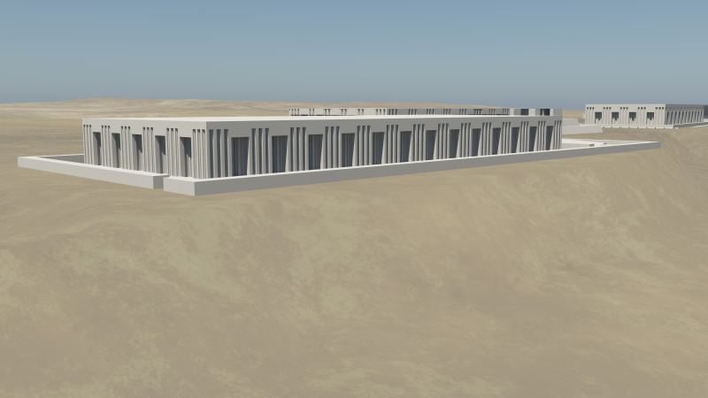 3D model render of a Dynasty 1 mastaba tomb