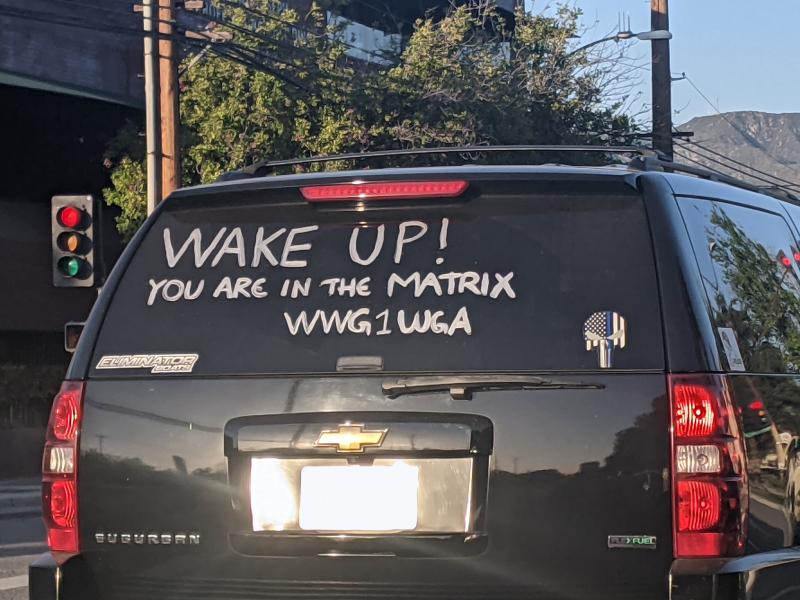 SUV in Burbank, CA featuring a pro QAnon message