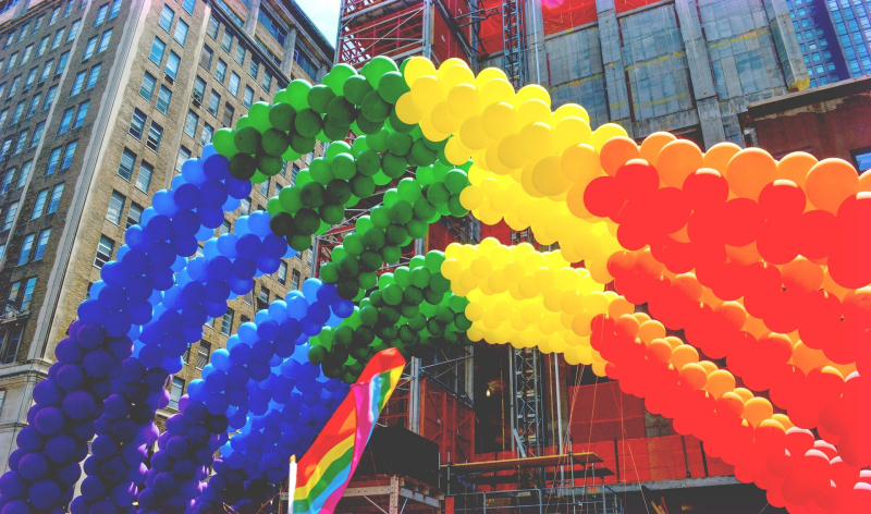 Pride Rainbow Balloon Arch in NYC